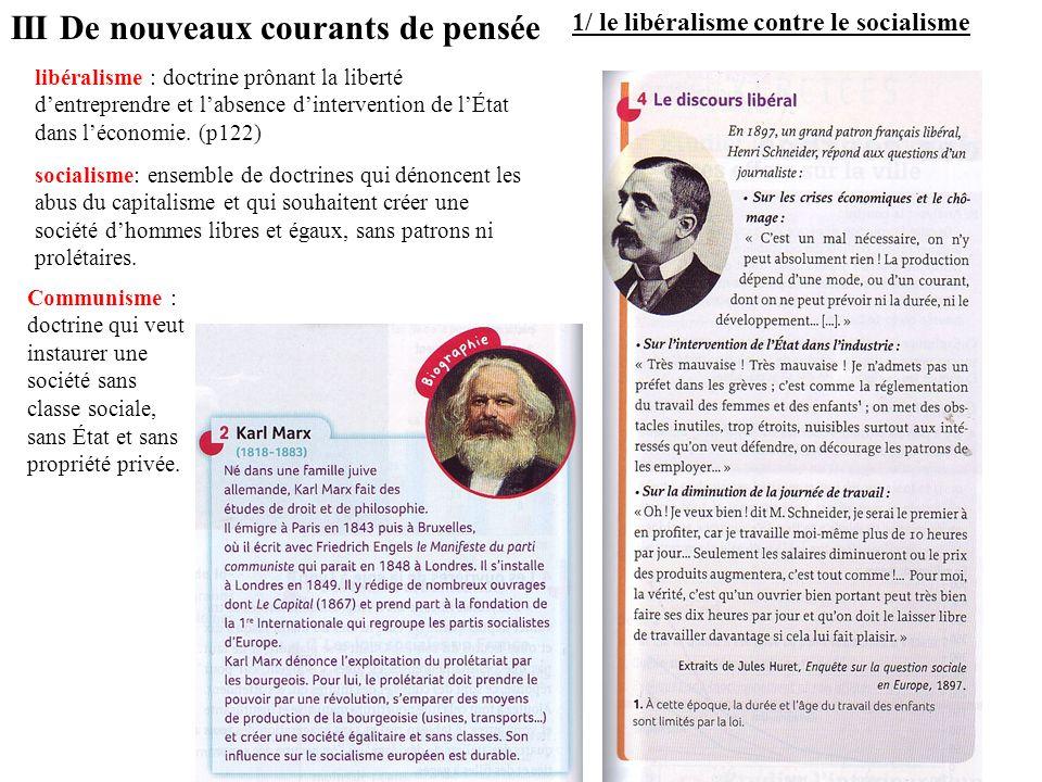 III De nouveaux courants de pensée 1/ le libéralisme contre le socialisme Communisme : doctrine qui veut instaurer une société sans classe sociale, sa