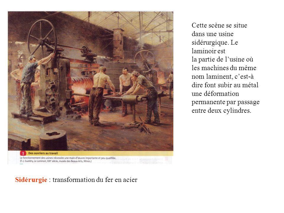 Cette scène se situe dans une usine sidérurgique. Le laminoir est la partie de lusine où les machines du même nom laminent, cest-à dire font subir au
