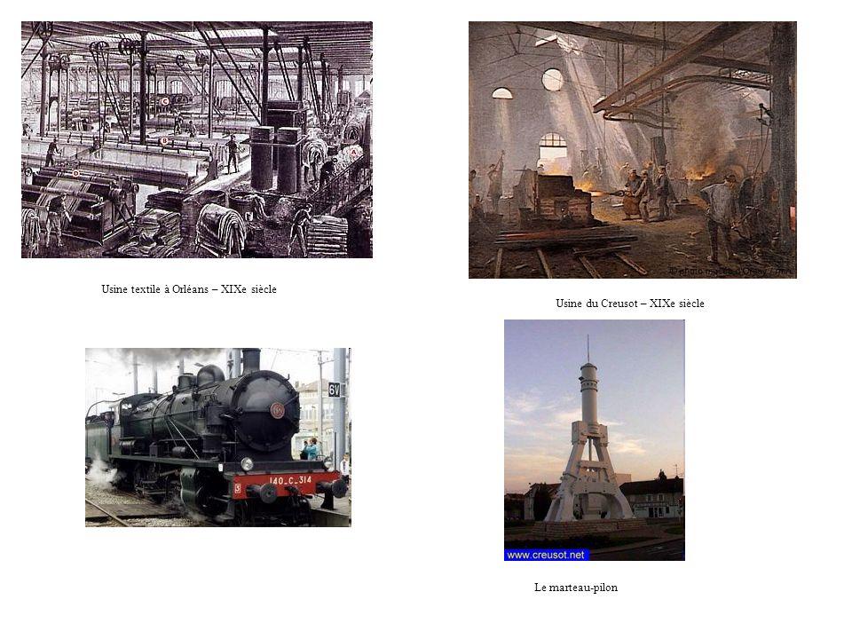 Usine textile à Orléans – XIXe siècle Usine du Creusot – XIXe siècle Le marteau-pilon