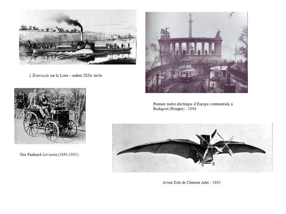 LÉmeraude sur la Loire – milieu XIXe siècle Premier métro électrique dEurope continentale, à Budapest (Hongrie) - 1896 Une Panhard- Levassor (1890-189