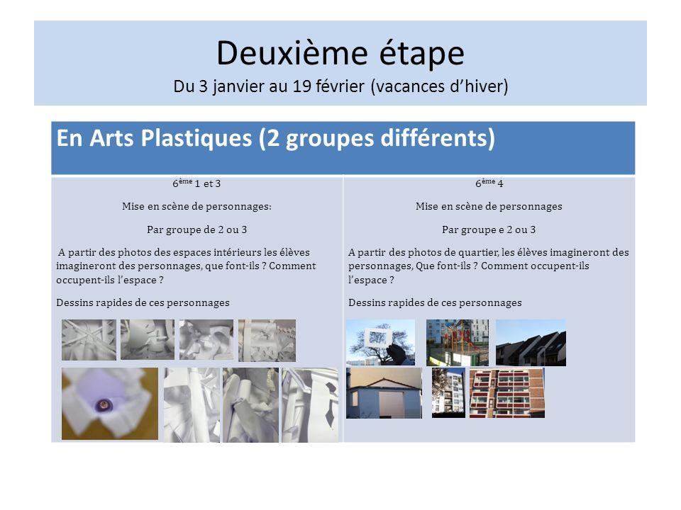 En Arts Plastiques (2 groupes différents) 6 ème 1 et 3 Mise en scène de personnages: Par groupe de 2 ou 3 A partir des photos des espaces intérieurs les élèves imagineront des personnages, que font-ils .