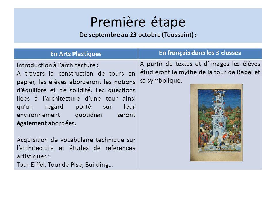 Première étape De septembre au 23 octobre (Toussaint) : En Arts Plastiques En français dans les 3 classes Introduction à larchitecture : A travers la