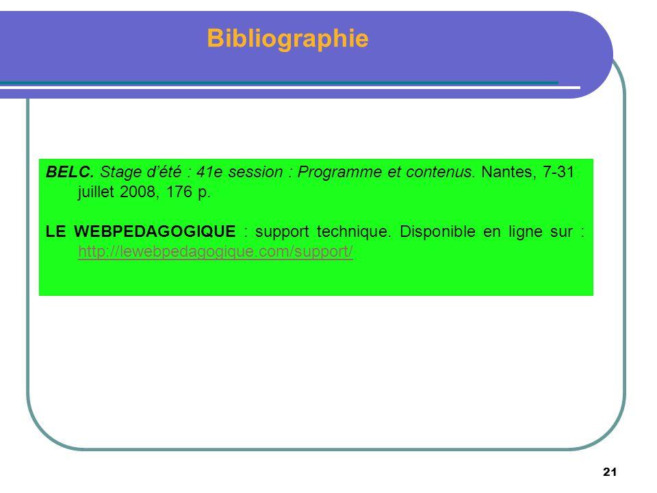 21 Bibliographie BELC. Stage dété : 41e session : Programme et contenus.