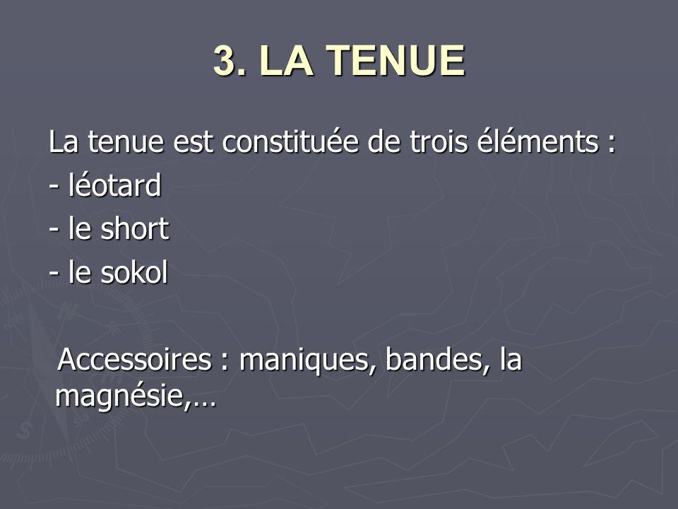 3. LA TENUE La tenue est constituée de trois éléments : La tenue est constituée de trois éléments : - léotard - léotard - le short - le short - le sok