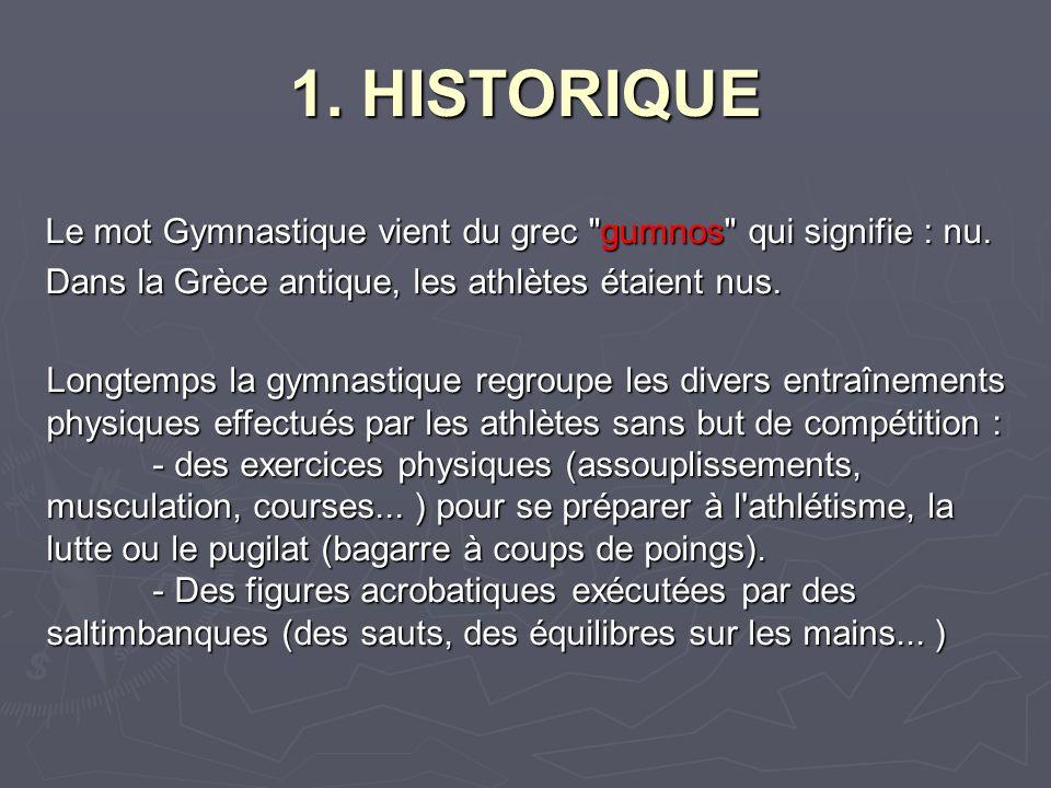 1.HISTORIQUE Le mot Gymnastique vient du grec gumnos qui signifie : nu.