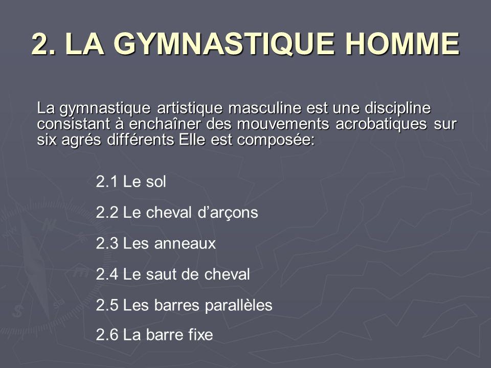 La gymnastique artistique masculine est une discipline consistant à enchaîner des mouvements acrobatiques sur six agrés différents Elle est composée: 2.1 Le sol 2.2 Le cheval darçons 2.4 Le saut de cheval 2.3 Les anneaux 2.5 Les barres parallèles 2.6 La barre fixe