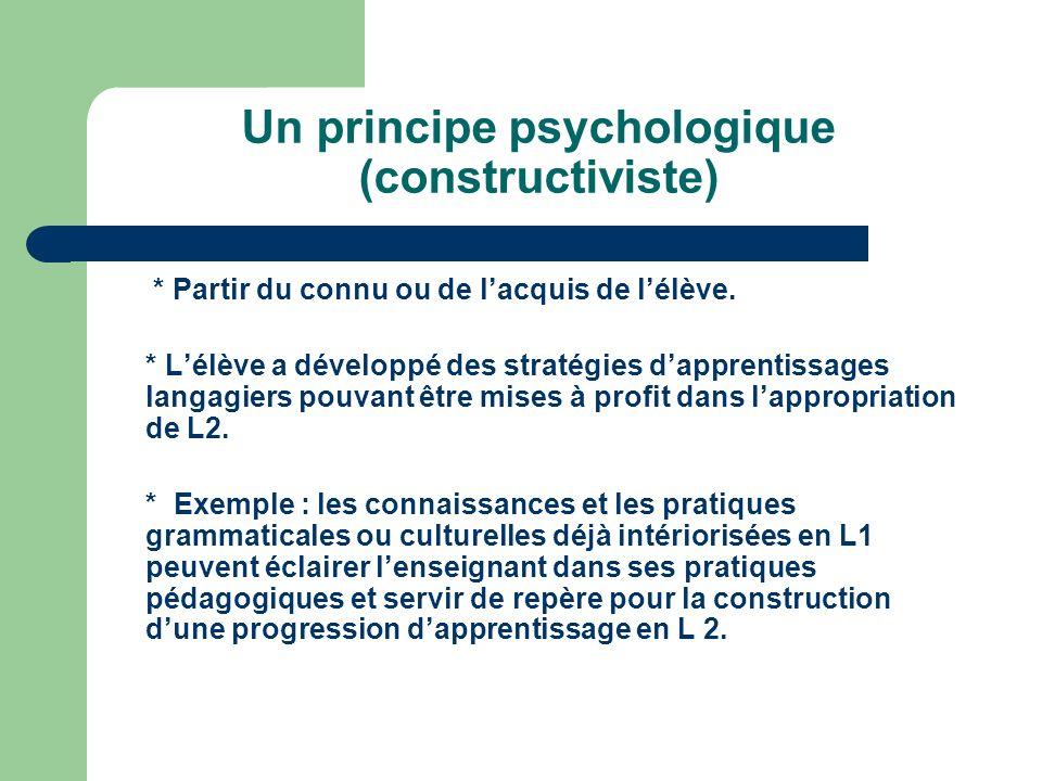 Un principe constructiviste de base (psychologique) Un principe constructiviste de base (psychologique) Un principe psychologique (constructiviste) *