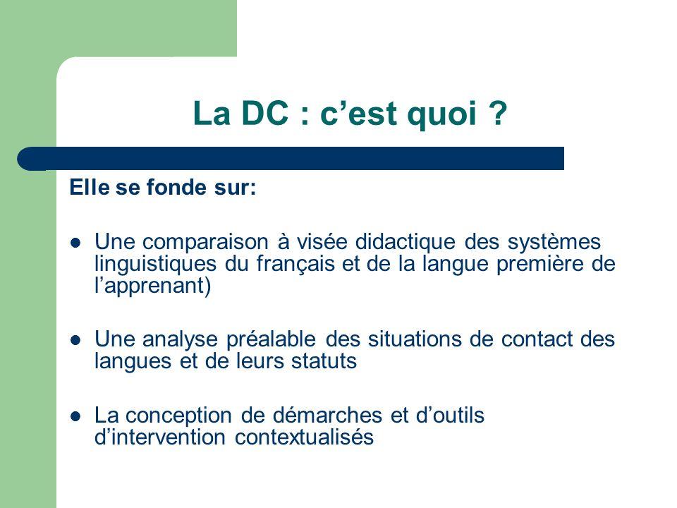 La DC : cest quoi ? Elle se fonde sur: Une comparaison à visée didactique des systèmes linguistiques du français et de la langue première de lapprenan