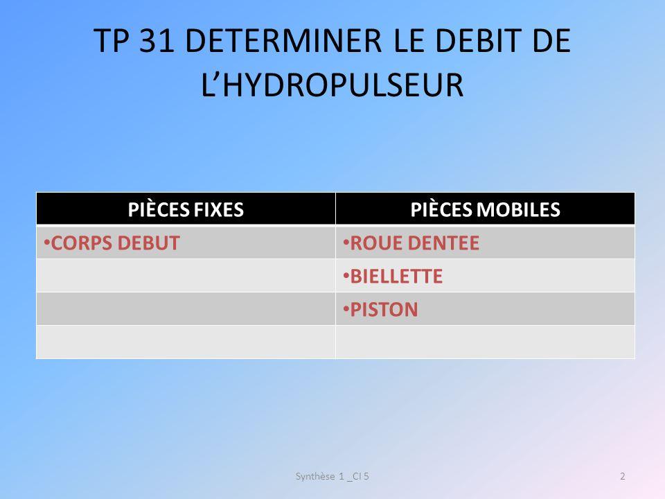 TP 31 DETERMINER LE DEBIT DE LHYDROPULSEUR PIÈCES FIXESPIÈCES MOBILES CORPS DEBUT ROUE DENTEE BIELLETTE PISTON Synthèse 1 _CI 52