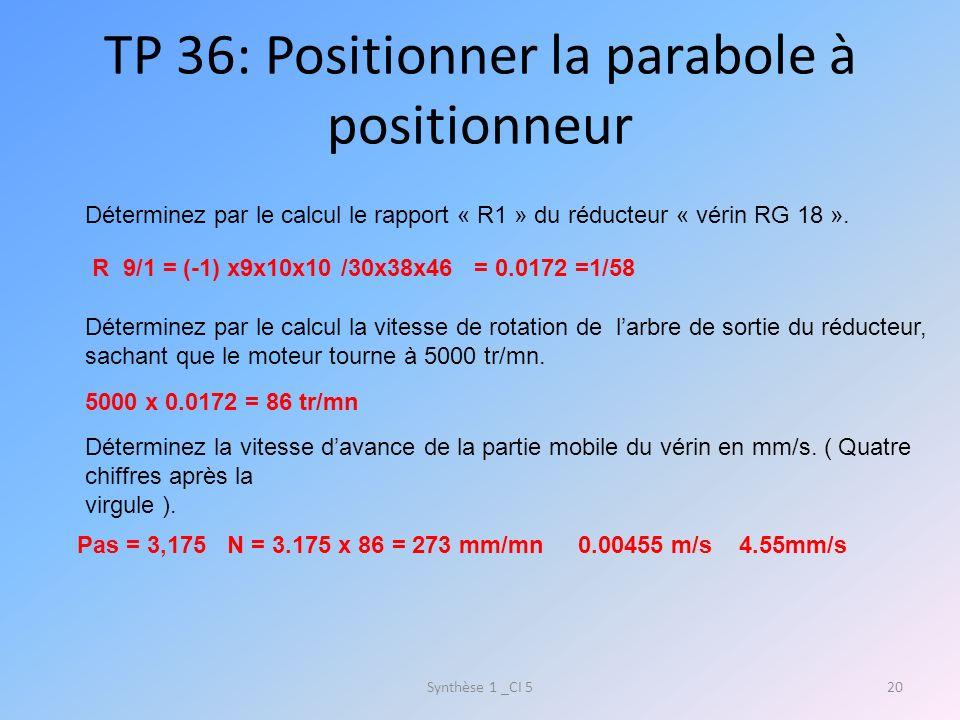 TP 36: Positionner la parabole à positionneur Synthèse 1 _CI 520 Déterminez par le calcul le rapport « R1 » du réducteur « vérin RG 18 ». R 9/1 = (-1)