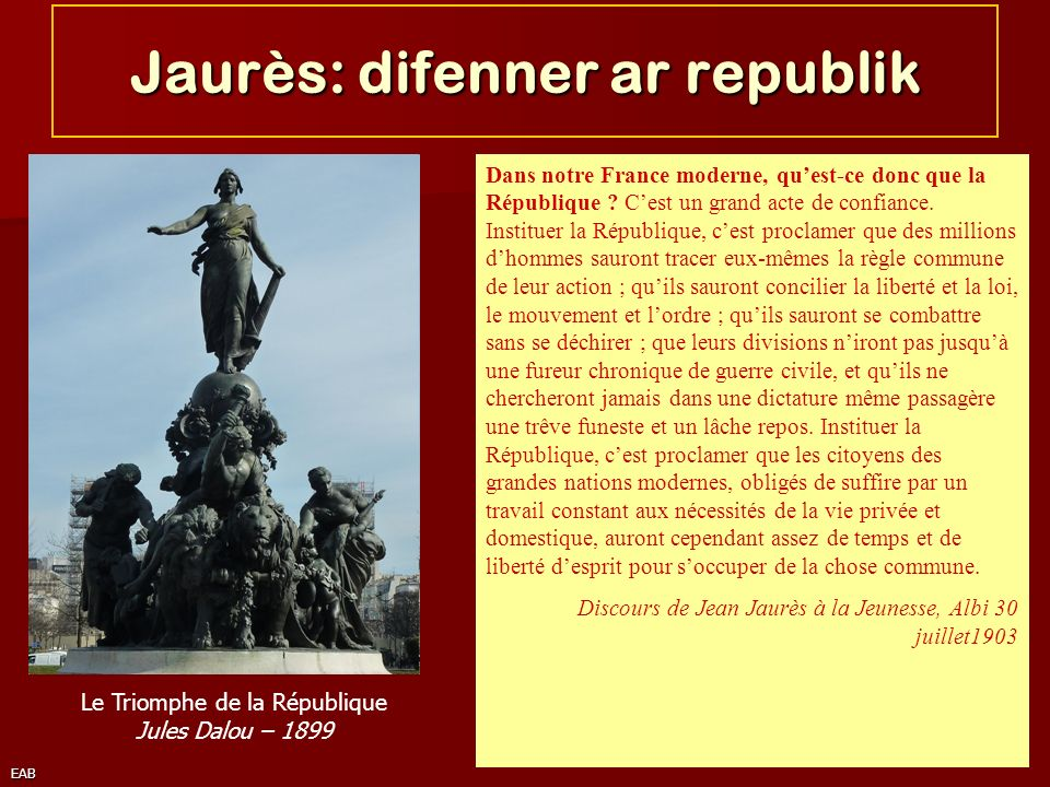 EAB Jaurès: difenner ar republik Dans notre France moderne, quest-ce donc que la République ? Cest un grand acte de confiance. Instituer la République