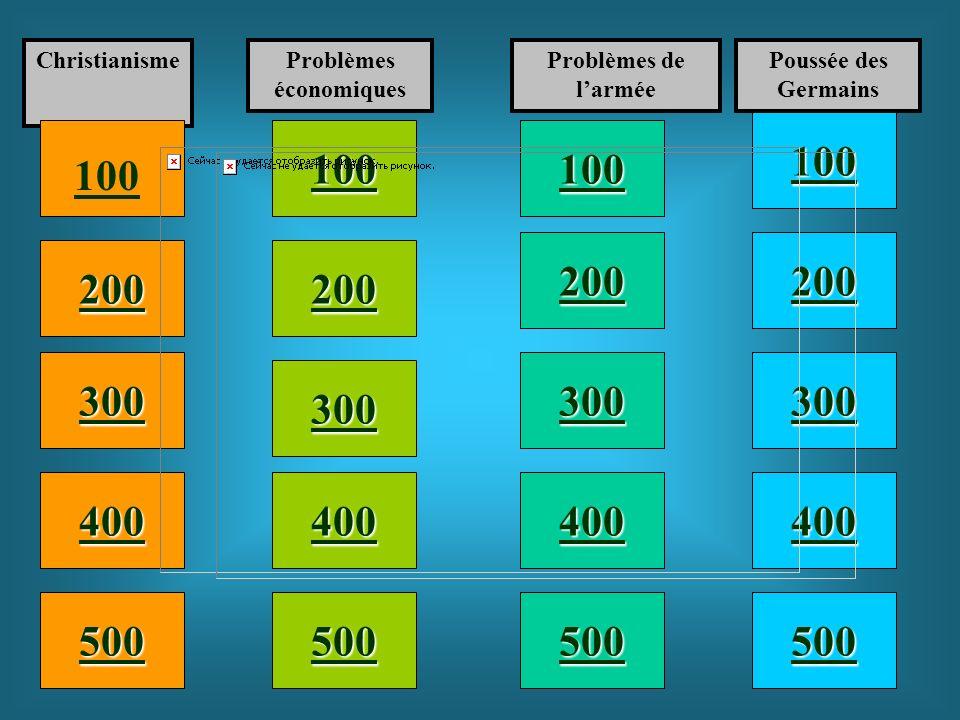 100 200 400 300 400 ChristianismeProblèmes économiques Problèmes de larmée Poussée des Germains 300 200 400 200 100 500 100