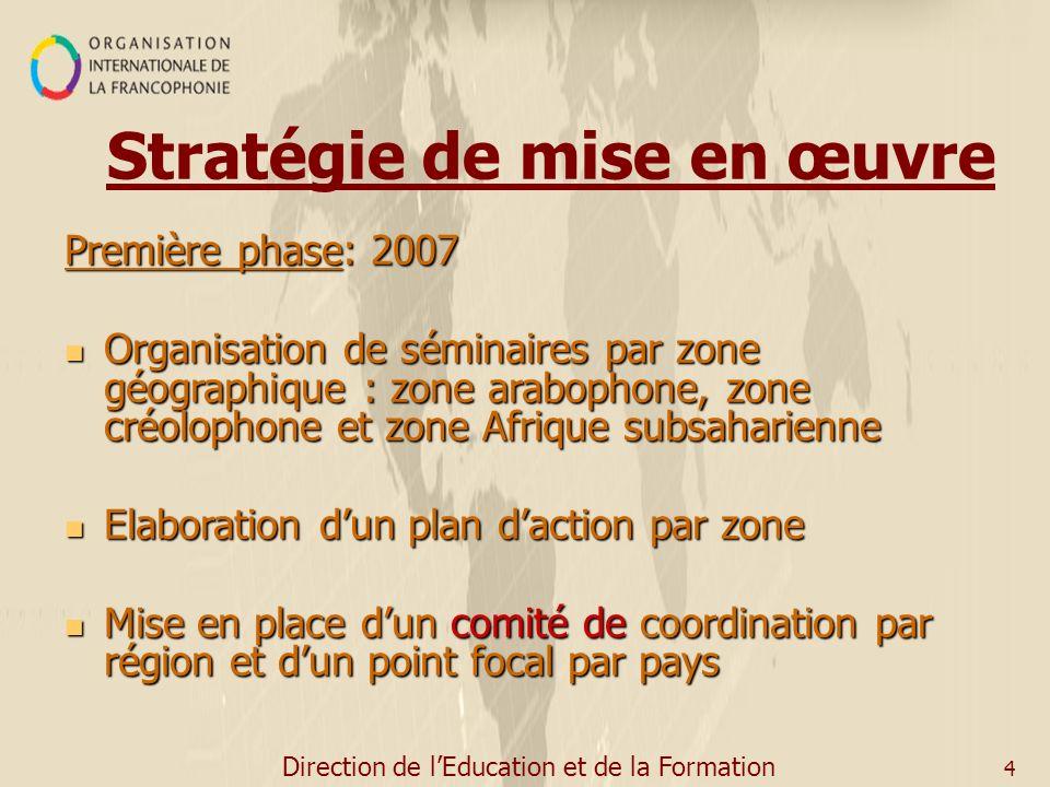 Direction de lEducation et de la Formation 4 Stratégie de mise en œuvre Première phase: 2007 Organisation de séminaires par zone géographique : zone a