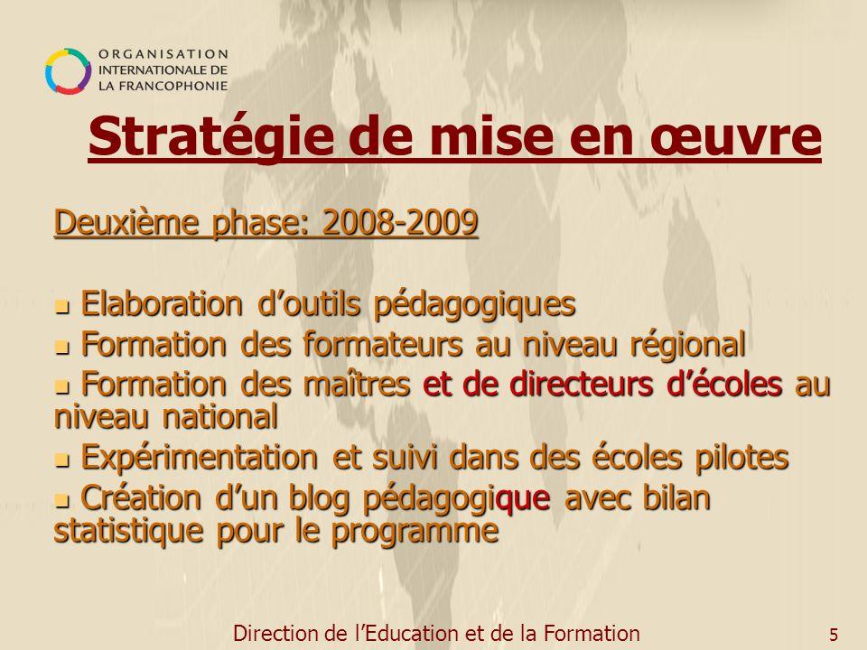 Direction de lEducation et de la Formation 5 Deuxième phase: 2008-2009 Elaboration doutils pédagogiques Elaboration doutils pédagogiques Formation des