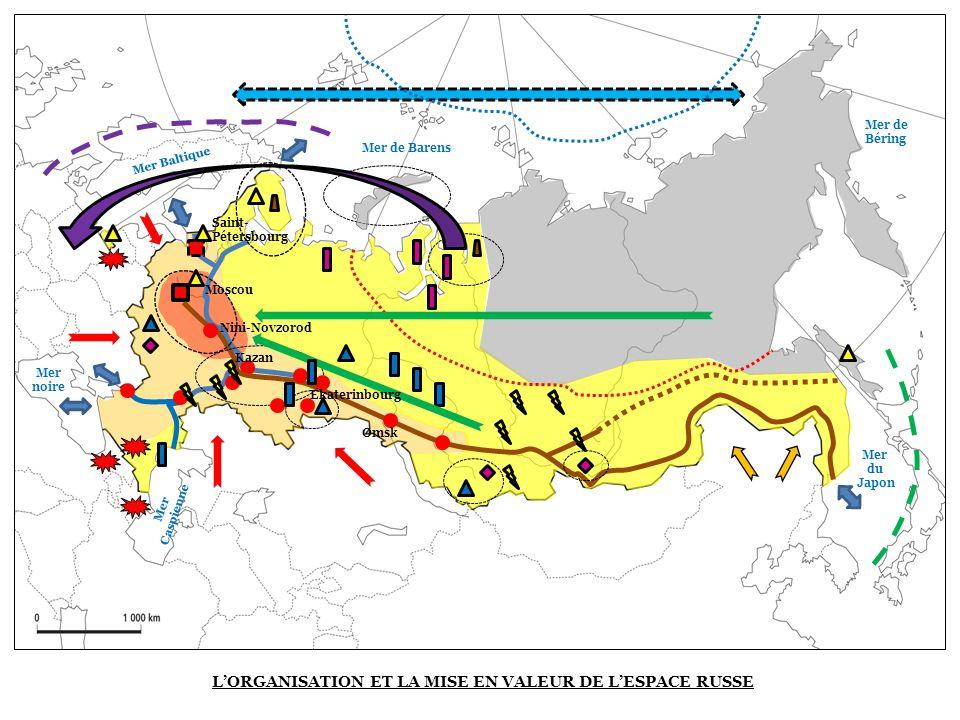 LORGANISATION ET LA MISE EN VALEUR DE LESPACE RUSSE Saint- Pétersbourg Moscou Kazan Mer noire Ekaterinbourg Omsk Mer Caspienne Mer Baltique Nini-Novzo