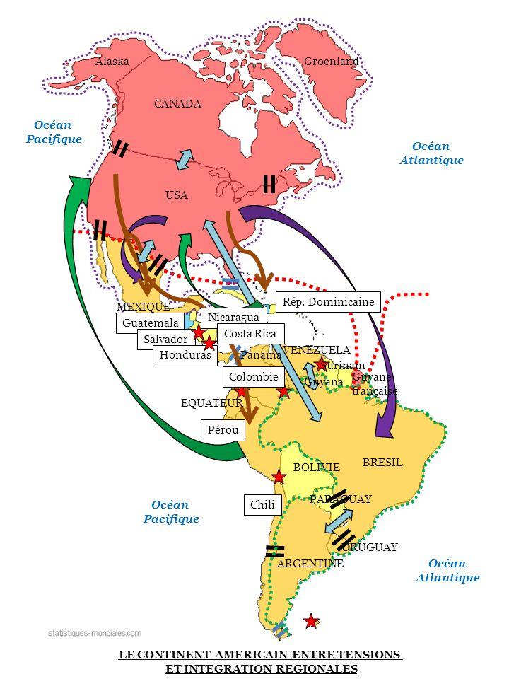 USA CANADA AlaskaGroenland MEXIQUE EQUATEUR BRESIL VENEZUELA ARGENTINE BOLIVIE PARAGUAY URUGUAY Guyana Surinam Guyane française Océan Atlantique Océan