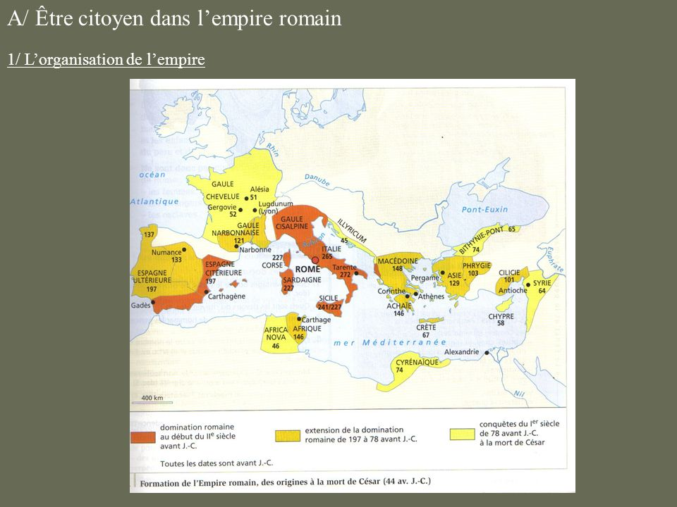 A/ Être citoyen dans lempire romain 1/ Lorganisation de lempire