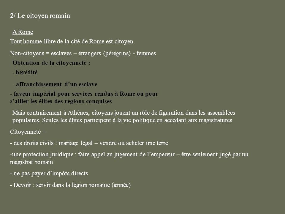 2/ Le citoyen romain A Rome Tout homme libre de la cité de Rome est citoyen. Non-citoyens = esclaves – étrangers (pérégrins) - femmes - hérédité - aff