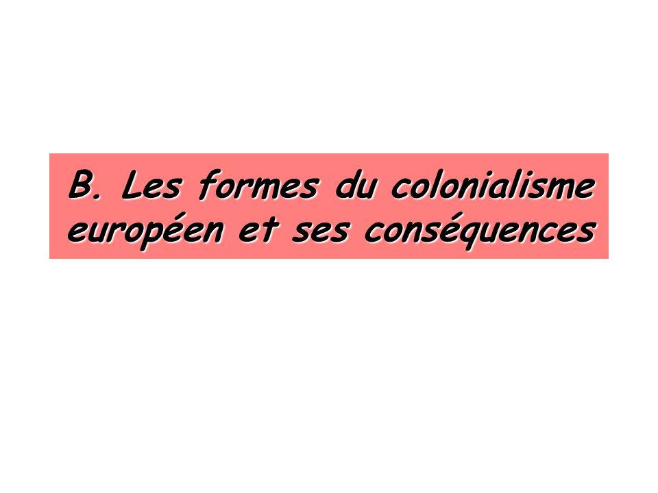 B. Les formes du colonialisme européen et ses conséquences