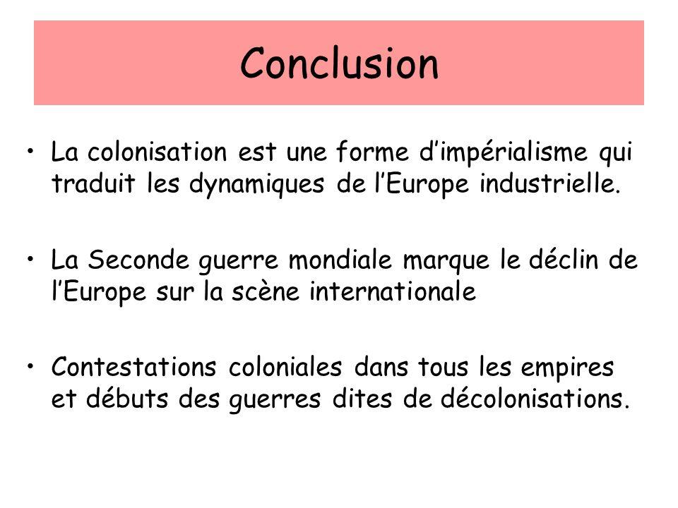 Conclusion La colonisation est une forme dimpérialisme qui traduit les dynamiques de lEurope industrielle. La Seconde guerre mondiale marque le déclin