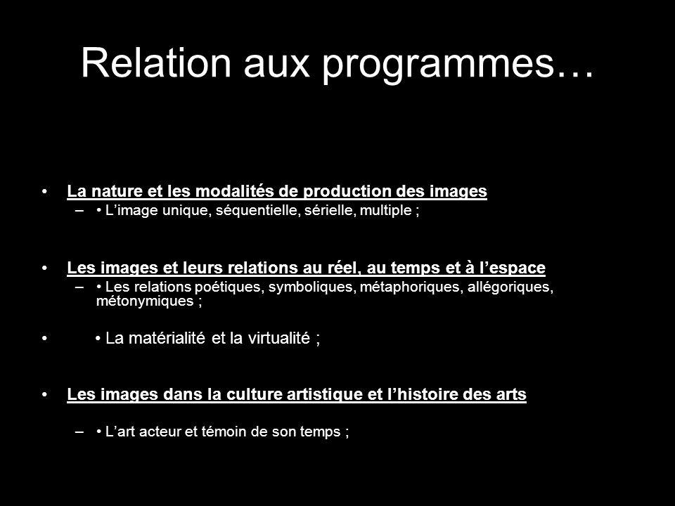 Relation aux programmes… La nature et les modalités de production des images – Limage unique, séquentielle, sérielle, multiple ; Les images et leurs r
