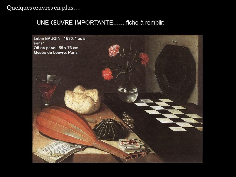 Observation du tableau Plusieurs objets sont visibles sur cette toile : un luth (instrument de musique), une partition, un jeu de cartes, une bourse, une perle ovale, un pain, une coupe de vin, trois œillets, un échiquier, un miroir.