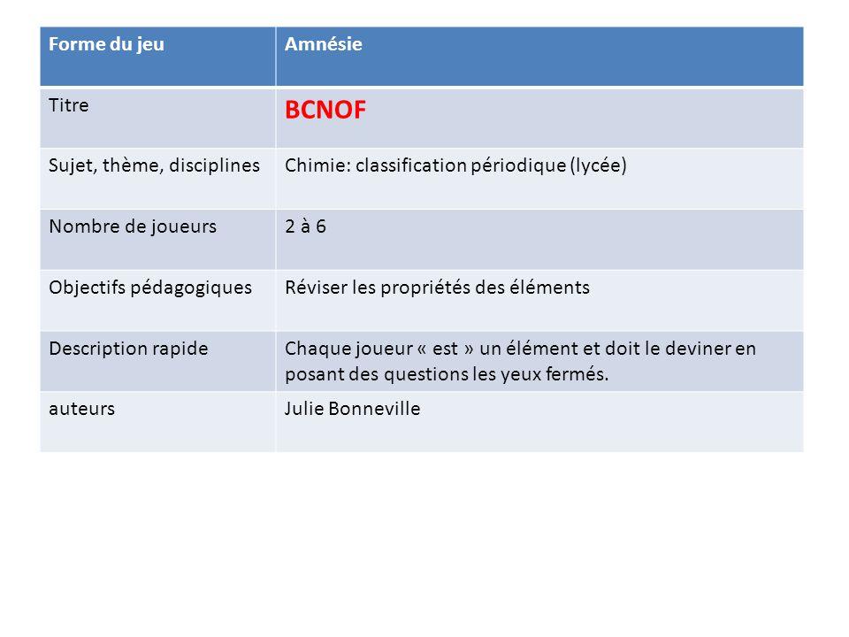 Forme du jeuAmnésie Titre BCNOF Sujet, thème, disciplinesChimie: classification périodique (lycée) Nombre de joueurs2 à 6 Objectifs pédagogiquesRévise