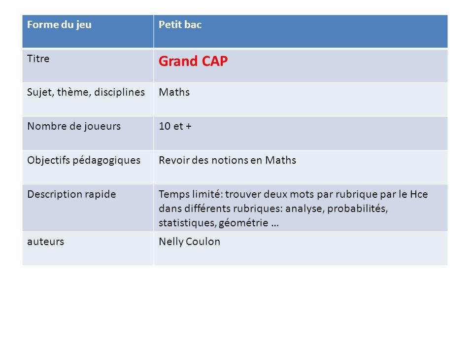 Forme du jeuPetit bac Titre Grand CAP Sujet, thème, disciplinesMaths Nombre de joueurs10 et + Objectifs pédagogiquesRevoir des notions en Maths Descri