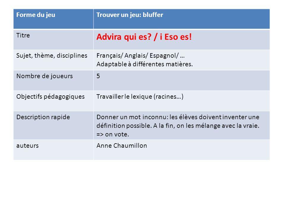 Forme du jeuTrouver un jeu: bluffer Titre Advira qui es? / i Eso es! Sujet, thème, disciplinesFrançais/ Anglais/ Espagnol/ … Adaptable à différentes m