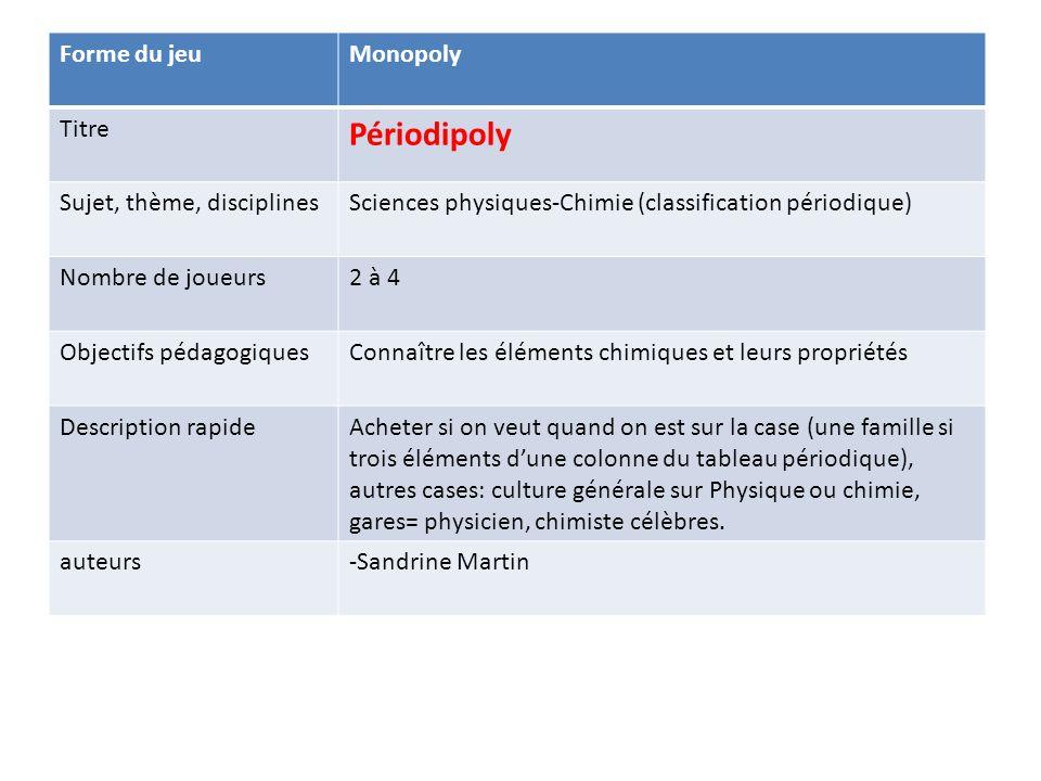 Forme du jeuMonopoly Titre Périodipoly Sujet, thème, disciplinesSciences physiques-Chimie (classification périodique) Nombre de joueurs2 à 4 Objectifs