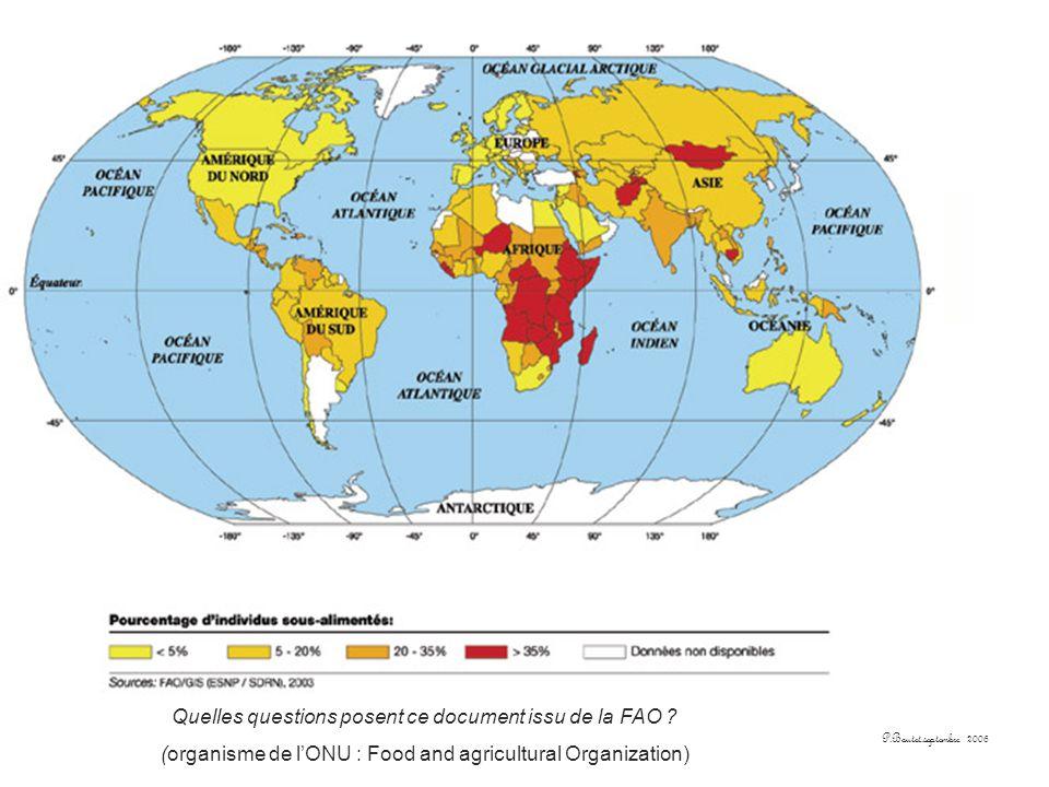 Quelles questions posent ce document issu de la FAO ? (organisme de lONU : Food and agricultural Organization)