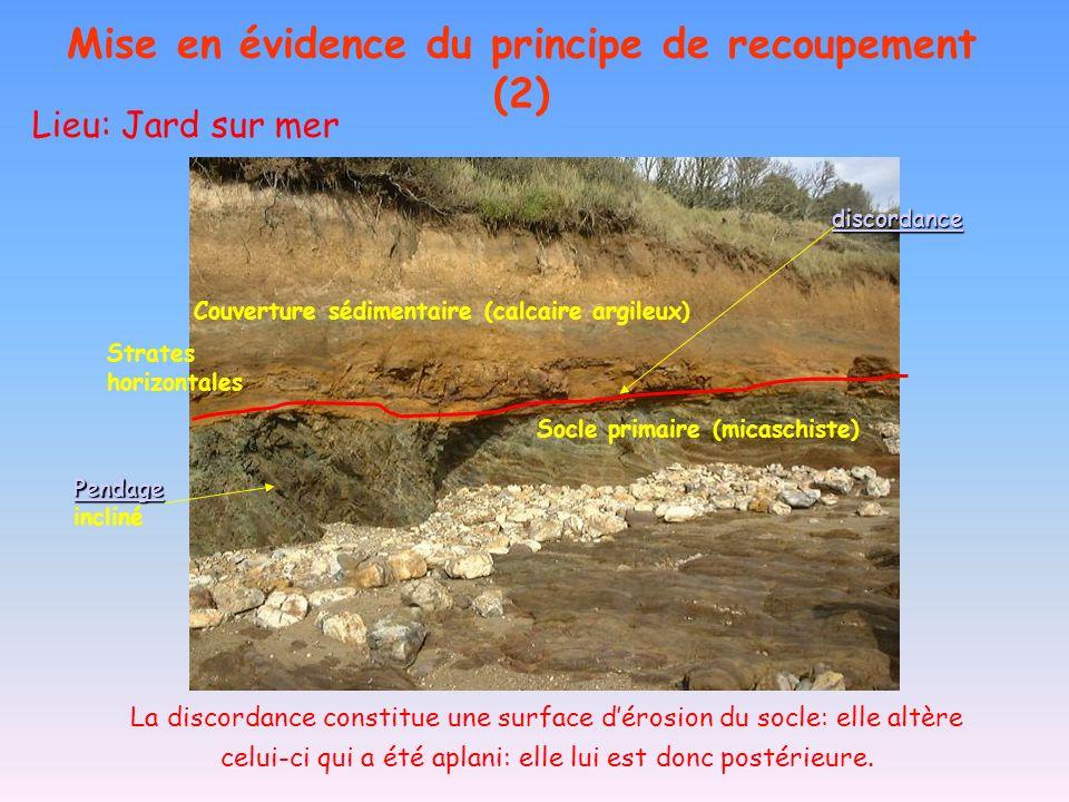 Discordance Lieu: Jard sur mer Mise en évidence du principe de recoupement (2) Socle primaire (micaschiste) Couverture sédimentaire (calcaire argileux