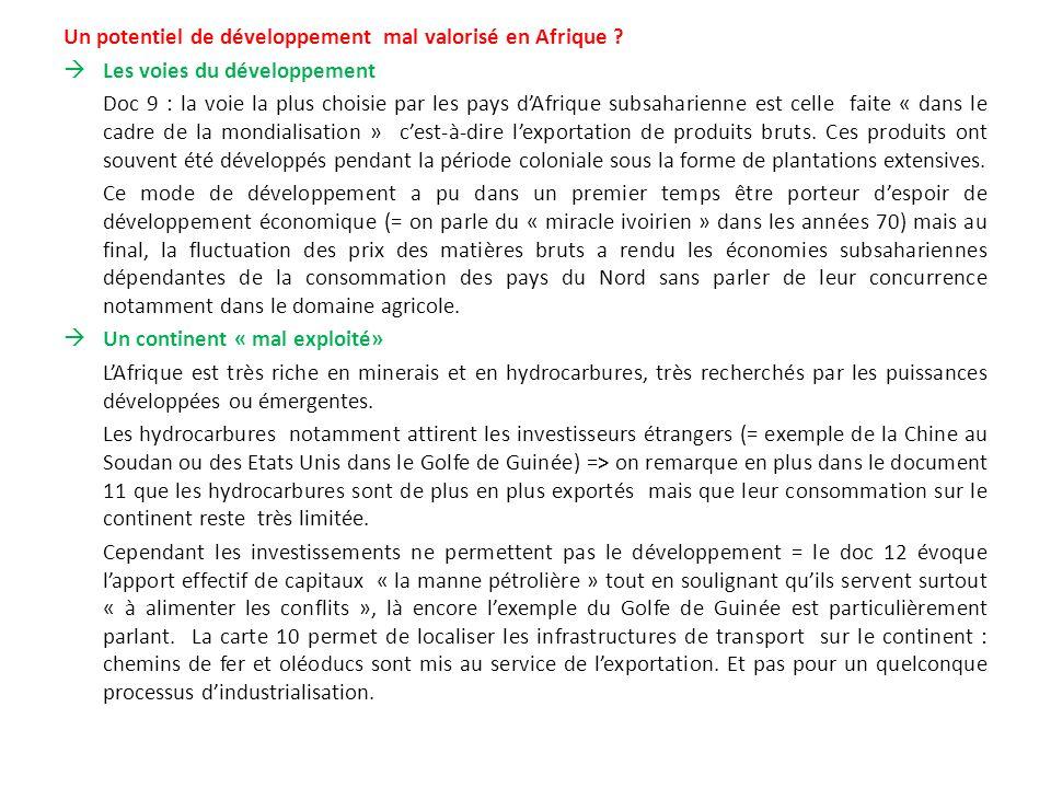 Un potentiel de développement mal valorisé en Afrique ? Les voies du développement Doc 9 : la voie la plus choisie par les pays dAfrique subsaharienne