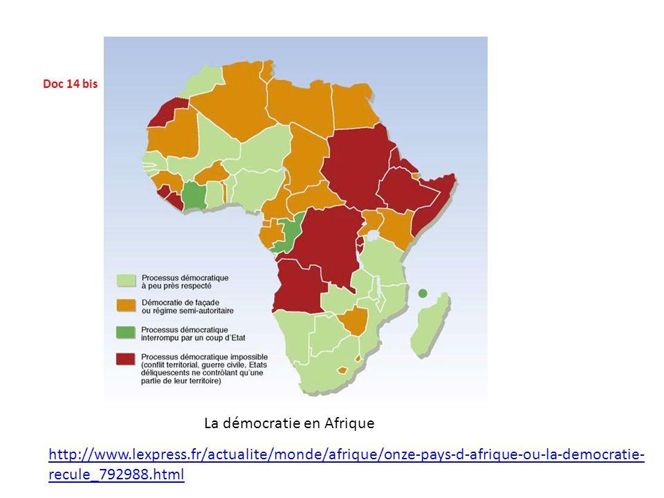 Doc 14 bis La démocratie en Afrique http://www.lexpress.fr/actualite/monde/afrique/onze-pays-d-afrique-ou-la-democratie- recule_792988.html