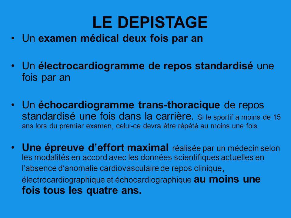 Un examen médical deux fois par an Un électrocardiogramme de repos standardisé une fois par an Un échocardiogramme trans-thoracique de repos standardi