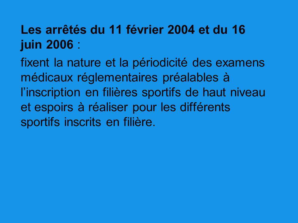 Les arrêtés du 11 février 2004 et du 16 juin 2006 : fixent la nature et la périodicité des examens médicaux réglementaires préalables à linscription e