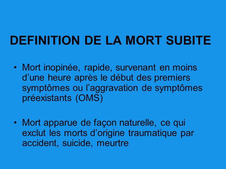 DEFINITION DE LA MORT SUBITE Mort inopinée, rapide, survenant en moins dune heure après le début des premiers symptômes ou laggravation de symptômes p