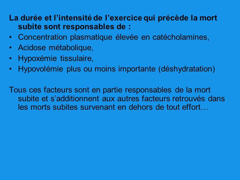 La durée et lintensité de lexercice qui précède la mort subite sont responsables de : Concentration plasmatique élevée en catécholamines, Acidose méta
