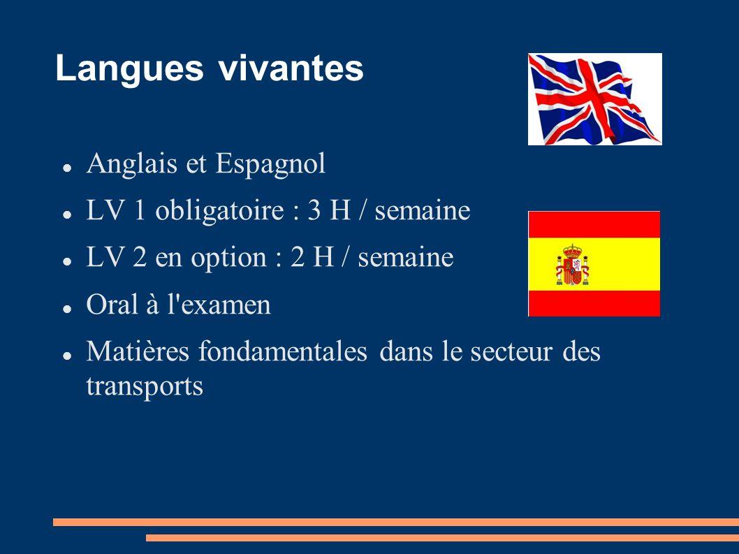Langues vivantes Anglais et Espagnol LV 1 obligatoire : 3 H / semaine LV 2 en option : 2 H / semaine Oral à l'examen Matières fondamentales dans le se