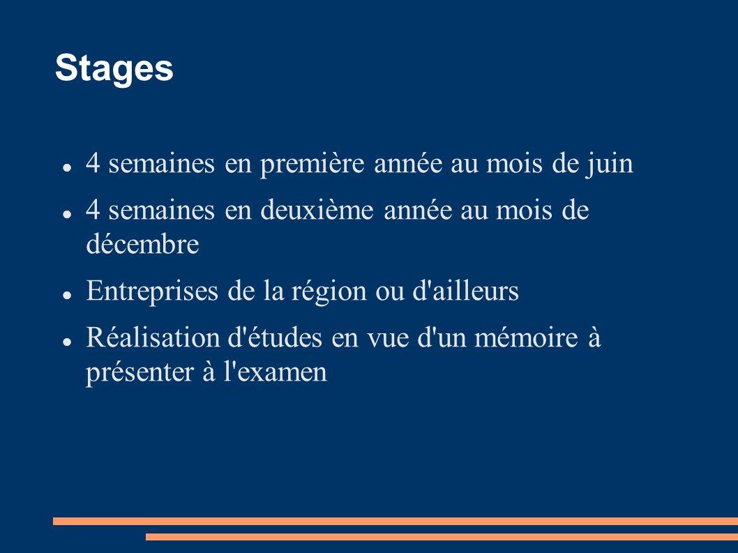 Stages 4 semaines en première année au mois de juin 4 semaines en deuxième année au mois de décembre Entreprises de la région ou d'ailleurs Réalisatio