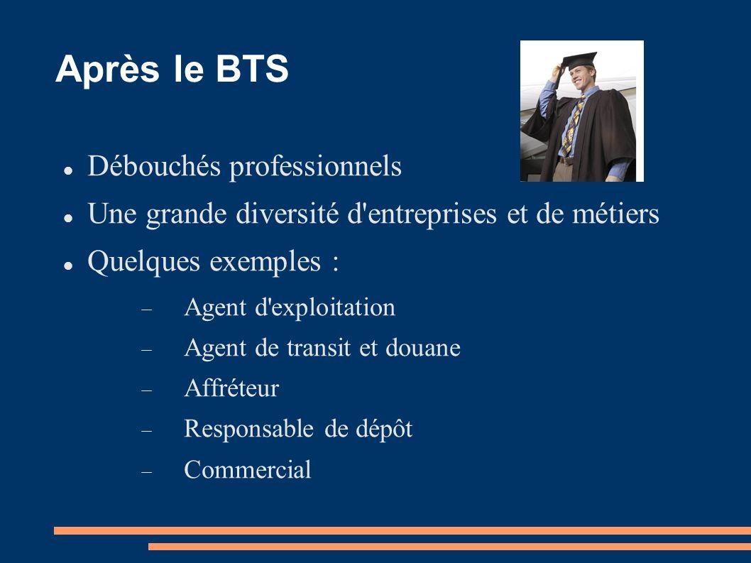 Après le BTS Débouchés professionnels Une grande diversité d'entreprises et de métiers Quelques exemples : Agent d'exploitation Agent de transit et do