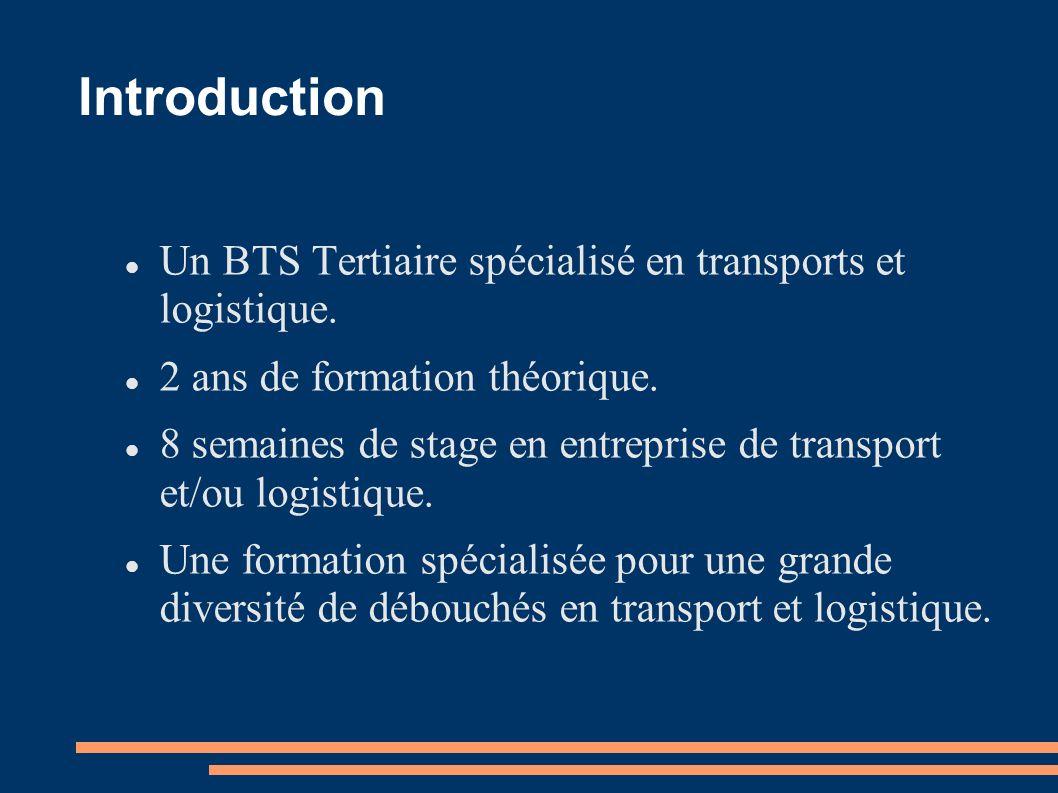 Introduction Un BTS Tertiaire spécialisé en transports et logistique. 2 ans de formation théorique. 8 semaines de stage en entreprise de transport et/