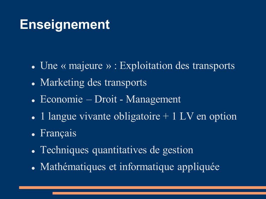 Enseignement Une « majeure » : Exploitation des transports Marketing des transports Economie – Droit - Management 1 langue vivante obligatoire + 1 LV