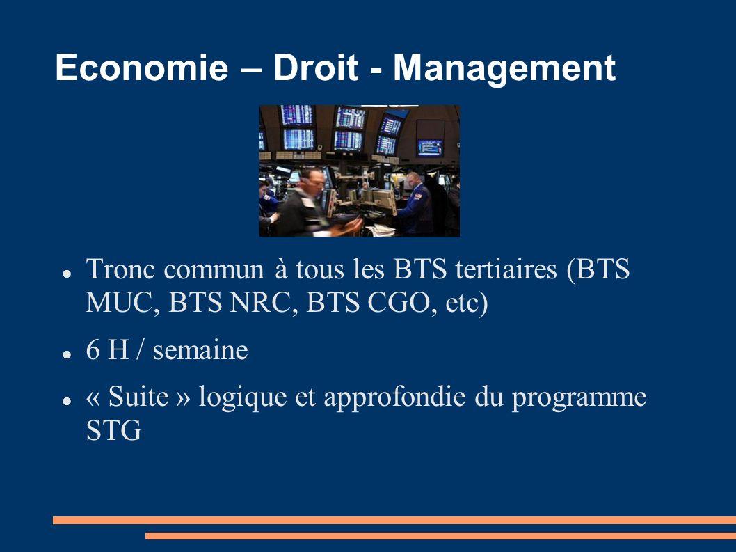 Economie – Droit - Management Tronc commun à tous les BTS tertiaires (BTS MUC, BTS NRC, BTS CGO, etc) 6 H / semaine « Suite » logique et approfondie d
