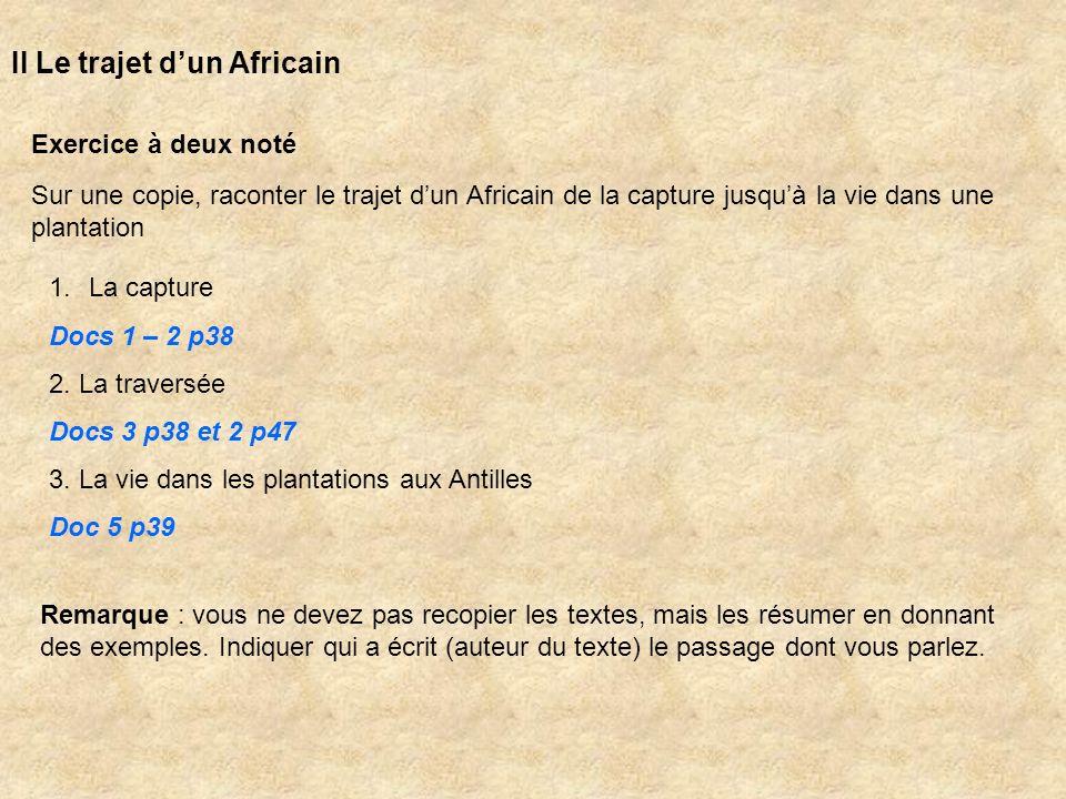 II Le trajet dun Africain Exercice à deux noté Sur une copie, raconter le trajet dun Africain de la capture jusquà la vie dans une plantation 1.La cap