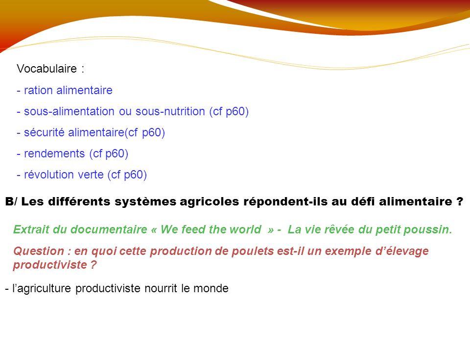 Vocabulaire : - ration alimentaire - sous-alimentation ou sous-nutrition (cf p60) - sécurité alimentaire(cf p60) - rendements (cf p60) - révolution ve