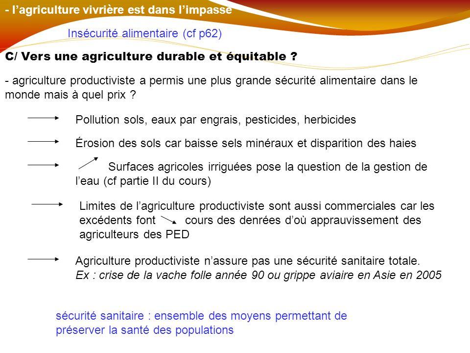 - lagriculture vivrière est dans limpasse Insécurité alimentaire (cf p62) C/ Vers une agriculture durable et équitable ? - agriculture productiviste a