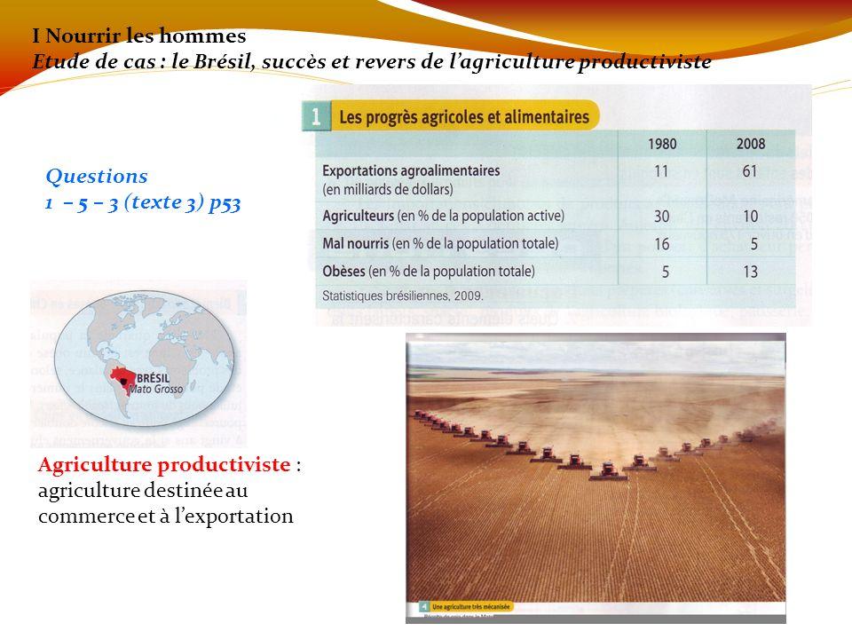 I Nourrir les hommes Etude de cas : le Brésil, succès et revers de lagriculture productiviste Questions 1 – 5 – 3 (texte 3) p53 Agriculture productivi