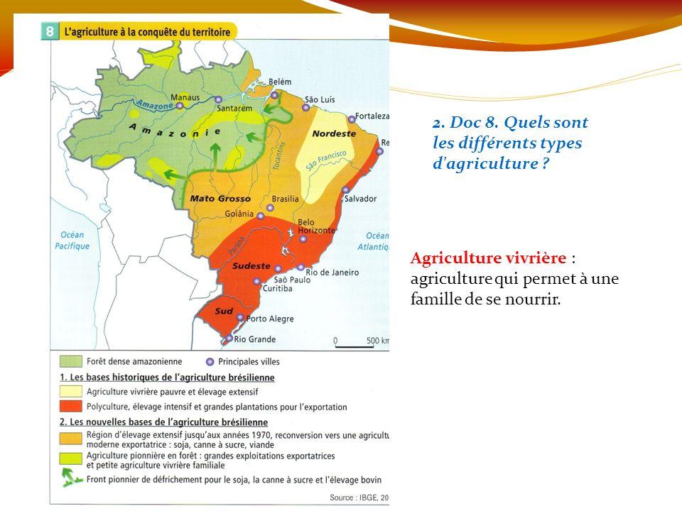 2. Doc 8. Quels sont les différents types d'agriculture ? Agriculture vivrière : agriculture qui permet à une famille de se nourrir.