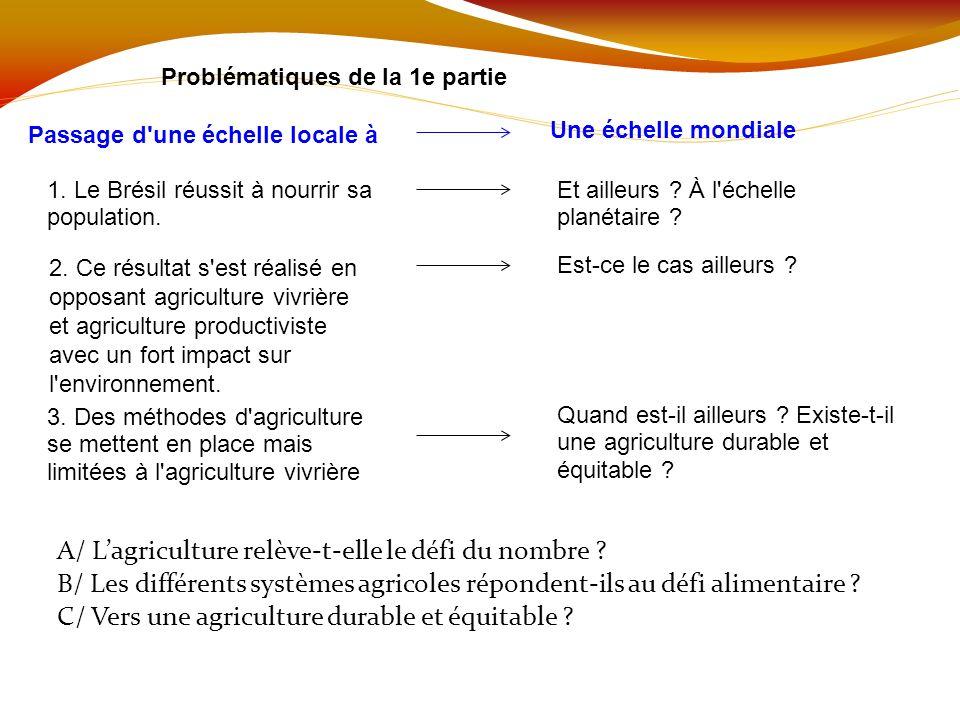 Problématiques de la 1e partie Passage d'une échelle locale à A/ Lagriculture relève-t-elle le défi du nombre ? B/ Les différents systèmes agricoles r